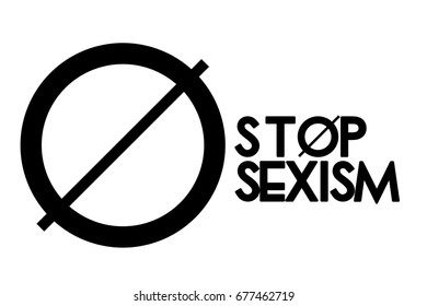 Stop sexism, against sexism, stop sexism illustration, symbol, background, woman discrimination, no sexism