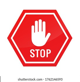 Stop sign. Adblock hand icon. Block signal. Restricted sign. Halt icon blocker octagon. Warning symbol. Octagonal sign red color. Prohibited activities. Road sign restriction. Illustration