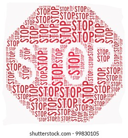 Stop sign text graphic illustration isolated on white