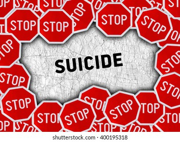 Stop sign and word suicide