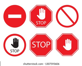Stop signs collection in red and white, traffic sign to notify drivers and provide safe and orderly street operation. Raster flat style illustration isolated on white background