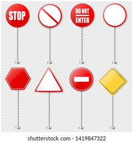 Stop Signs And Traffic Sign Collection Transparent Background