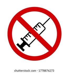 símbolo del signo de la vacuna de parada sobre fondo blanco