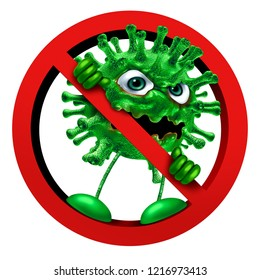 Stop virus sign immunity symbol as a pathogen character in a ban or banned icon as a vaccination or hygiene health idea as a 3D render.
