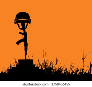 Stop War  Save Life,soldier gun and helmet. Grave of a fallen soldier,Death of the military.