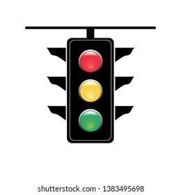 Stoplight sign. Icon traffic light on white background. Symbol regulate movement safety and warning. Electricity semaphore regulate transportation on crossroads urban road. Flat illustration.