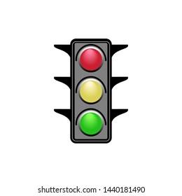 Stoplight sign. Icon traffic light on white background. Symbol regulate movement safety and warning. Electricity semaphore regulate transportation on crossroads urban road. illustration