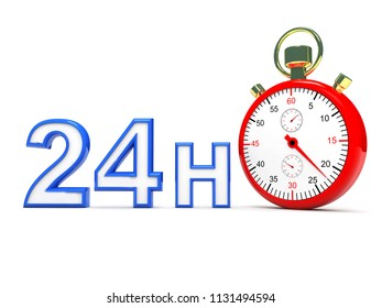 Stopwatch with 24h Text , This is a 3d rendered computer generated image. Isolated on white background