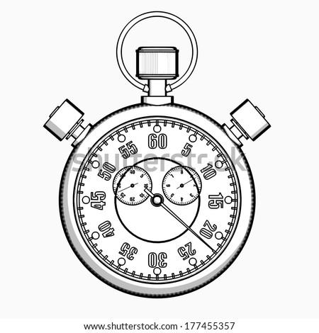 Stopwatch Cartoon Illustration Outline High Resolution Stock