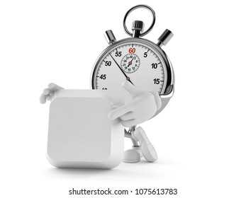 Stopwatch character with blank keyboard key isolated on white background. 3d illustration