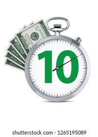 Stopwatch with hundred dollars banknote. Speed money credit concept. Realistic creative 3d illustration.