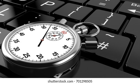 Stopwatch lying on computer keyboard. 3d illustration