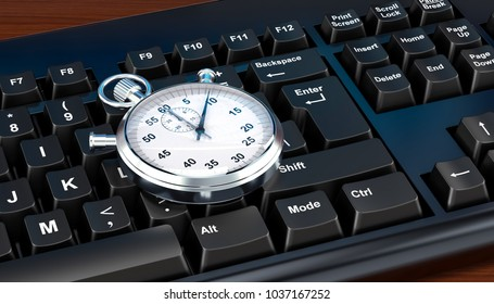 Stopwatch on computer keyboard concept, 3D rendering
