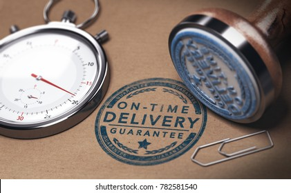Stopwatch and a rubber stamp with the text on time delivery. Courier service punctuality concept. 3D illustration