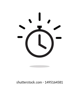 Stopwatch or timer with fast time count down icon, line outline chronometer symbol or pictogram isolated image
