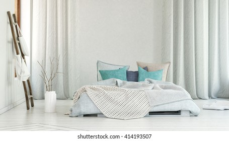 Storage in bags on poles beside planter on floor and single large bed in room with blue pillows and long white curtains. 3d Rendering.