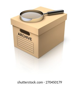 Storage box with magnifying glass