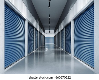 Storage facilities with blue doors. Interior units. 3d rendering