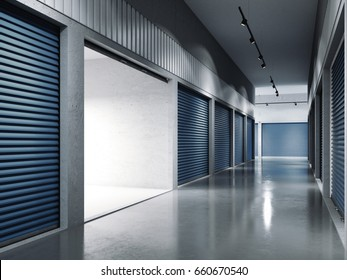 Storage facilities with blue doors. Opened door. Light inside.. 3d rendering