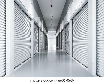 Storage facilities with white doors. Interior units. 3d rendering