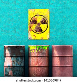 Storage radioactive waste, barrels resting on a wall, sign with radioactivity symbol, nuclear material. 3d rendering