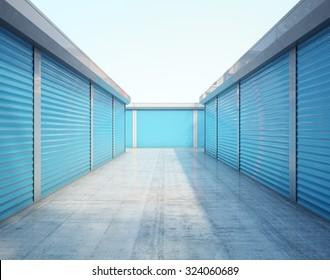 Storage units with blue door. 3d rendering