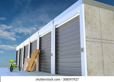 storage units on sky background