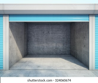 Storage units with opened door. 3d rendering
