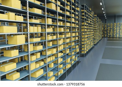 Storage/Warehouse Shelves Background. Industrial Concept. 3D illustration