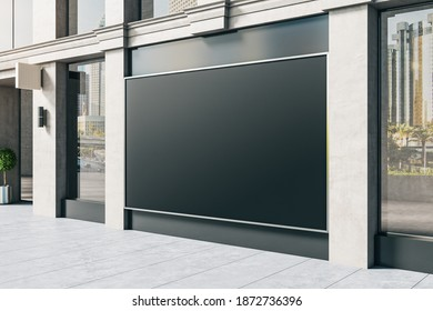 Store with blank poster on wall and columns. Advertisement and retail concept. Mock up, 3D Rendering
