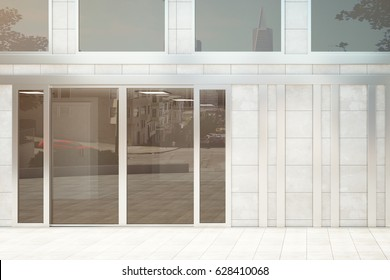 Store exterior with blank wall. Advertisement concept. Mock up, 3D Rendering