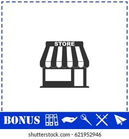 Store icon flat. Simple illustration symbol and bonus pictogram