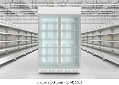 Store interior with empty refrigerator display. 3d render