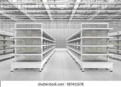 Store interior with empty supermarket shelves. 3d render