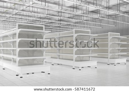 Royalty Free Stock Illustration of Store Interior Empty Supermarket