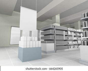 Store interior with shelves and products. 3D rendering