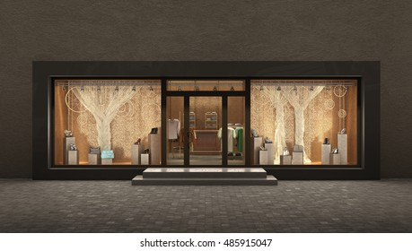 store  night exterior, 3d illustration