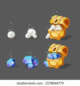 store purchase billing icons set Mobile game asset - treasure box diamonds
