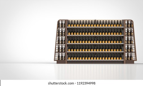 store shelf brown and beer bottles front right 3d rendering