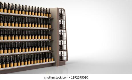store shelf brown and beer bottles left closeup 3d rendering