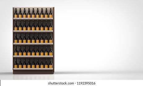 store shelf brown and beer bottles front side left 3d rendering