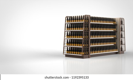store shelf brown and beer bottles right 3d rendering