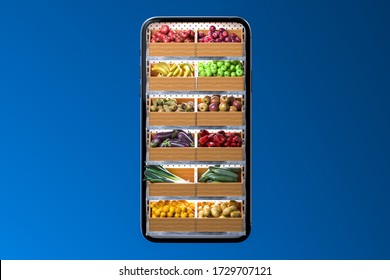 Store Shelves Full Of Fruits And Vegetables on Mobile Phone App. Concept Of Online Shopping. 3d Rendering.