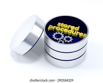 Stored Procedures in a metallic look database box. 3D Illustration