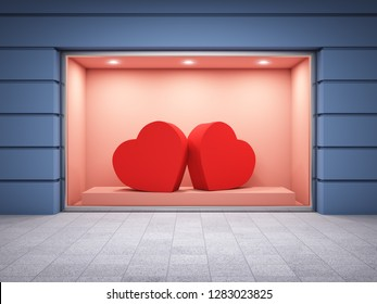 Storefront of shop with gift boxes from heart. Valentine concept. 3D illustration.