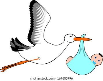 Stork  with baby boy - Stock Illustration