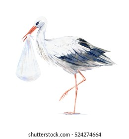 Stork with baby.Newborn picture.Watercolor hand drawn illustration.