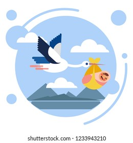 Stork bird carries baby child. Flat style. Cartoon raster illustration