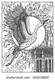 Stork. Black and white mystic concept for oracle tarot card. Graphic engraved illustration. Fantasy line art drawing and tattoo sketch. Gothic, occult and esoteric background