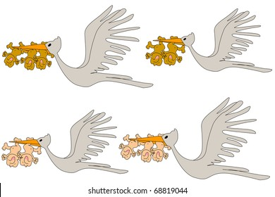 Stork Delivering  Crying Newborn Infant Baby Twins and Triplets Illustration Isolated on White Background